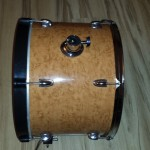 The finished birds eye maple bass drum - DIY Mini Bop Drum Kit